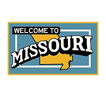 Welcome to Missouri, Vintage Road Sign 50s  Photographic Print