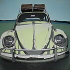 Green VW Beetle by samcannonart