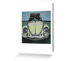 Green VW Beetle Greeting Card