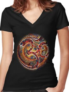 AUM Women's Fitted V-Neck T-Shirt