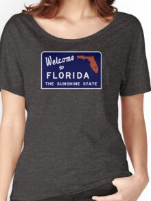 Welcome to Florida, Vintage Road Sign 70s Women's Relaxed Fit T-Shirt