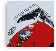 Red Split Screen Bus Canvas Print