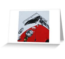 Red Split Screen Bus Greeting Card