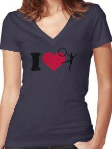 I love Gymnastics Women's Fitted V-Neck T-Shirt