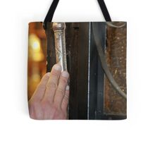 Touching the Mezuzah  of an 1888 synagogue Tote Bag