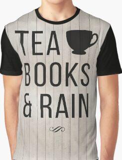 Tea Books & Rain Graphic T-Shirt