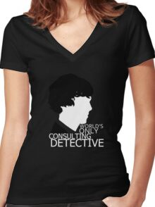 World's Only Consulting Detective V2 (for dark coloured tops) Women's Fitted V-Neck T-Shirt