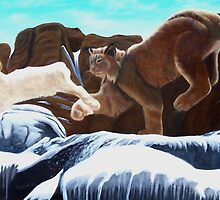 Bobcat and White Rabbit by John Marcum