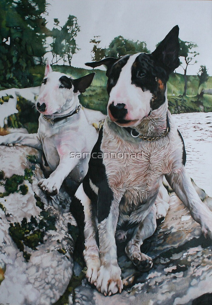 Bosun and Isis by the River by samcannonart
