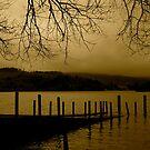 Derwent Water Jetty (sepia) by Lou Wilson