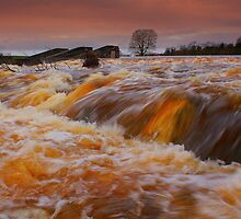 Broken Scar Weir, River Tees New Years Day, 2012. ( 3 FT's) by Ian Alex Blease