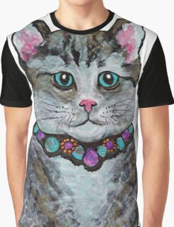 boy cat with bejewelled collar - hand painted Graphic T-Shirt