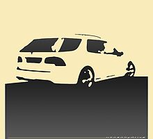 Saab 9-5, 2006 rear - Black on cream by uncannydrive