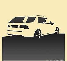 Saab 9-5, 2006 rear - Black on cream by uncannydrive
