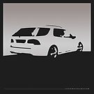 Saab 9-5, 2006 rear - Gray on black by uncannydrive