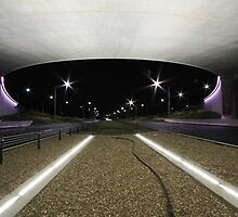 Kings Avenue Overpass (by night) by buildings