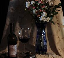 Blue vase with Wine by FrankSchmidt
