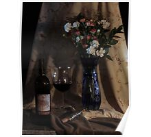 Blue vase with Wine Poster