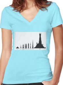 In The Shadow of Barad-dur Women's Fitted V-Neck T-Shirt