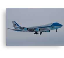 Side Shot of Air Force One On Approach to KCLE January 2012 Canvas Print