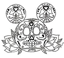 Mickey Mouse Sugar Skull Photographic Print