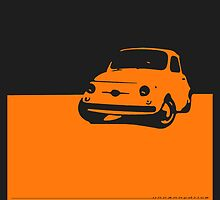 Fiat 500, 1959 - Orange on black by uncannydrive