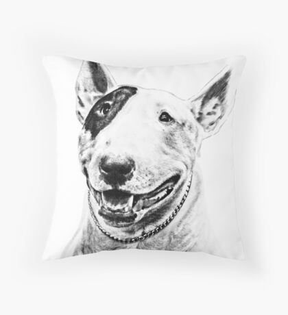 Comical Bull Terrier Throw Pillow