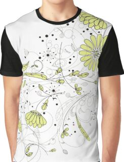 Doodle line drawing decorative flowers chartreuse Graphic T-Shirt
