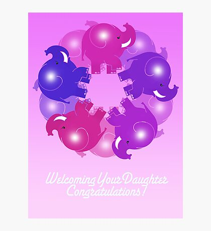 BABY ELEPHANTS PINK CARD Photographic Print