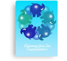 BABY ELEPHANTS BLUE(CARD) Canvas Print