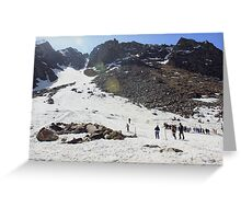 Skiing in Snow, Himalayas Greeting Card
