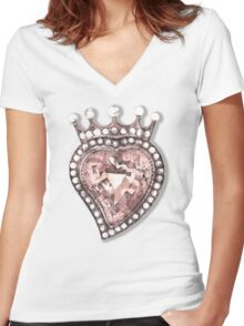 Beloved Pearly Heart Women's Fitted V-Neck T-Shirt