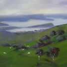 View to Akaroa, New Zealand by Tash  Luedi Art