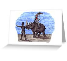 Rhino Situation surreal pen ink drawing Greeting Card