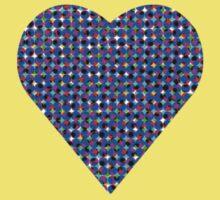 halftone heartblue Kids Tee