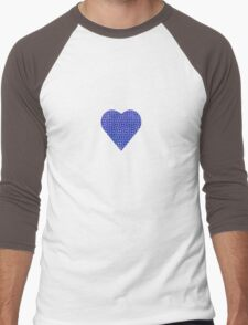halftone heartblue Men's Baseball ¾ T-Shirt
