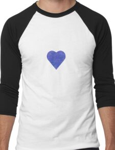 halftone heartblue Men's Baseball ¾ T-Shirt