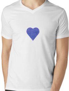 halftone heartblue Mens V-Neck T-Shirt