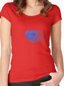halftone heartblue fade Women's Fitted Scoop T-Shirt