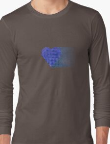 halftone heartblue fade Long Sleeve T-Shirt