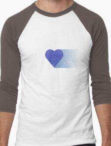 halftone heartblue fade Men's Baseball ¾ T-Shirt