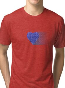halftone heartblue fade Tri-blend T-Shirt
