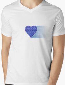 halftone heartblue fade Mens V-Neck T-Shirt