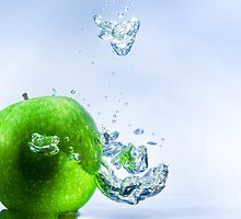 Green Apple and Bubbles by Riaan Roux