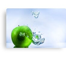Green Apple and Bubbles Canvas Print