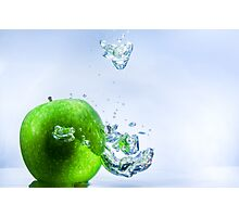 Green Apple and Bubbles Photographic Print