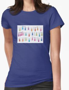 Colourful Violin Notes Womens Fitted T-Shirt