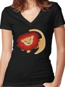 Adult Simba  Women's Fitted V-Neck T-Shirt