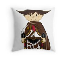 Cute Cowboy Sheriff in Poncho Throw Pillow