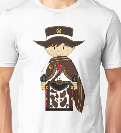 Cute Cowboy Sheriff in Poncho Unisex T-Shirt